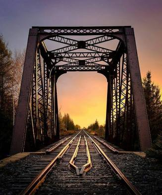 Sunset at the tracks, Sturgeon Falls, Ontario. Image by hey_eh_joe